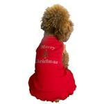 View Image 4 of Merry Christmas Tree Rhinestone Holiday Dog Dress - Red
