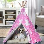 View Image 2 of Merry Pet Teepee - Pink Puzzle