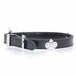 View Image 1 of Foxy Metallic Royal Crown Dog Collar by Cha-Cha Couture - Black
