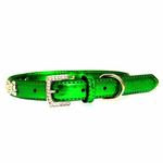 View Image 2 of Metallic Crystal Bone Dog Collar - Emerald Green