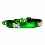 View Image 3 of Metallic Crystal Bone Dog Collar - Emerald Green