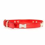 View Image 1 of Metallic Crystal Bone Dog Collar - Red