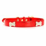 View Image 3 of Metallic Crystal Bone Dog Collar - Red