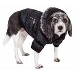 View Image 7 of Pet Life Metallic Ski Parka Dog Coat - Black