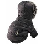 View Image 6 of Pet Life Metallic Ski Parka Dog Coat - Black