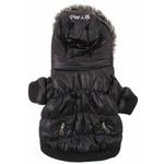 View Image 4 of Pet Life Metallic Ski Parka Dog Coat - Black