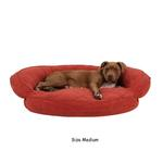 View Image 3 of Microfiber Quilted Bolster Dog Bed with Moisture Barrier Protection - Earth Red