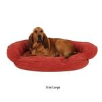 View Image 2 of Microfiber Quilted Bolster Dog Bed with Moisture Barrier Protection - Earth Red
