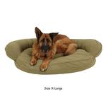 View Image 2 of Microfiber Quilted Bolster Dog Bed with Moisture Barrier Protection - Sage