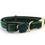 View Image 1 of Mistletoe Velvet Dog Collar by Diva Dog - Pine Green