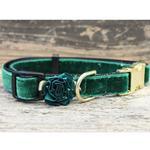 View Image 3 of Mistletoe Velvet Dog Collar by Diva Dog - Pine Green