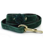 View Image 2 of Mistletoe Velvet Dog Collar by Diva Dog - Pine Green