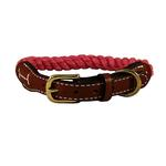 View Image 1 of Natural Cotton and Leather Rope Dog Collar by Auburn Leathercrafters - Pink
