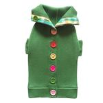 View Image 5 of Rainbow Button Dog Sweater by Beverly Hills Dog - Green