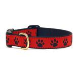 View Image 1 of Red Black Paw Dog Collar by Up Country