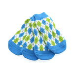 View Image 1 of Non-Skid Dog Socks by Doggie Design - Blue and Green Argyle
