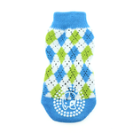 View Image 2 of Non-Skid Dog Socks by Doggie Design - Blue and Green Argyle
