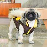 View Image 4 of Orson Fleece Dog Vest By Puppia - Brown and Yellow