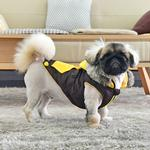 View Image 3 of Orson Fleece Dog Vest By Puppia - Brown and Yellow
