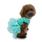 View Image 1 of Over the Top Tricolor Sequin Fufu Tutu Dog Dress - Seafoam