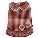 View Image 1 of Dobaz Gingham Dog Dress - Red
