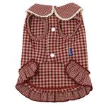 View Image 2 of Dobaz Gingham Dog Dress - Red