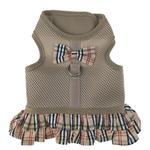View Image 1 of Parisian Pet Plaid Harness Dog Dress - Khaki