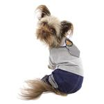 View Image 3 of Parisian Pet Preppy Dog Jumpsuit - Blue with Striped Tie