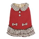 View Image 1 of Dobaz Quilted Plaid Dog Dress - Red