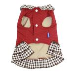 View Image 3 of Dobaz Quilted Plaid Dog Dress - Red