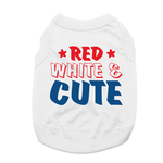 View Image 1 of Red, White & Cute Dog Shirt - White