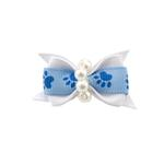 View Image 1 of Paw Dog Bow with Alligator Clip - Blue Topaz