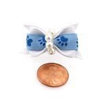 View Image 2 of Paw Dog Bow with Alligator Clip - Blue Topaz