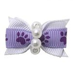 View Image 1 of Paw Dog Bow with Alligator Clip - Light Orchid