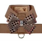 View Image 1 of Chocolate Glen Houndstooth Nouveau Bow Tinkie Dog Harness by Susan Lanci - Fawn