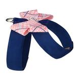 View Image 2 of Peaches & Cream Glen Houndstooth Nouveau Bow Tinkie Dog Harness by Susan Lanci - Indigo