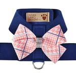 View Image 1 of Peaches & Cream Glen Houndstooth Nouveau Bow Tinkie Dog Harness by Susan Lanci - Indigo