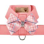View Image 1 of Peaches & Cream Glen Houndstooth Nouveau Bow Tinkie Dog Harness by Susan Lanci - Peach