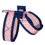 View Image 2 of Peaches N' Cream Glen Houndstooth Tinkie Dog Harness with Big Bow and Trim by Susan Lanci - Indigo