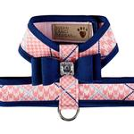 View Image 1 of Peaches N' Cream Glen Houndstooth Tinkie Dog Harness with Big Bow and Trim by Susan Lanci - Indigo