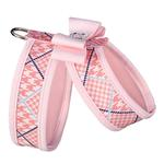 View Image 2 of Peaches N' Cream Glen Houndstooth Tinkie Dog Harness with Big Bow and Trim by Susan Lanci - Puppy Pink
