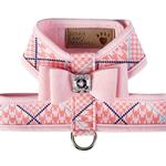 View Image 1 of Peaches N' Cream Glen Houndstooth Tinkie Dog Harness with Big Bow and Trim by Susan Lanci - Puppy Pink