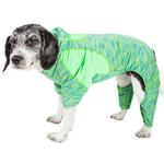 View Image 1 of Pet Life ACTIVE 'Downward Dog' Performance Full Body Warm-Up Dog Hoodie - Green