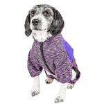 View Image 3 of Pet Life ACTIVE 'Downward Dog' Performance Full Body Warm-Up Dog Hoodie - Purple