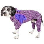 View Image 1 of Pet Life ACTIVE 'Downward Dog' Performance Full Body Warm-Up Dog Hoodie - Purple
