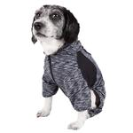 View Image 3 of Pet Life ACTIVE 'Downward Dog' Performance Full Body Warm-Up Dog Hoodie - Black