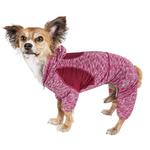 View Image 1 of Pet Life ACTIVE 'Downward Dog' Performance Full Body Warm-Up Dog Hoodie - Burgundy