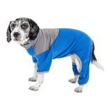 View Image 1 of Pet Life ACTIVE 'Embarker' Performance Full-Body Dog Warm Up Suit - Blue and Grey