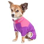 View Image 2 of Pet Life ACTIVE 'Embarker' Performance Full-Body Dog Warm Up Suit - Lavender and Pink