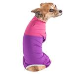 View Image 3 of Pet Life ACTIVE 'Embarker' Performance Full-Body Dog Warm Up Suit - Lavender and Pink